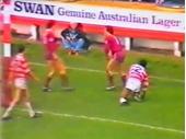 83 - 1983 Qld tour of UK - Game 2 v Wigan (Wayne Lindenberg scores a try)