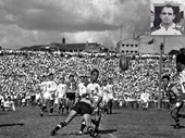 38 - Clive Churchill playing for Brisbane in 1959 at Lang Park (Frank Drake playing for Toowoomba on right)
