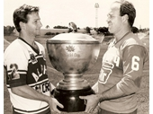 222 - Trevor Bailey and Wally Lewis with the Winfield Cup before the 1986 Grand Final
