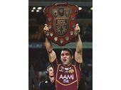 130 - 2012 State of Origin series - Cameron Smith holds up the Origin Shield