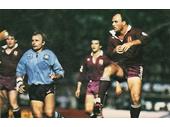 34 - 1983 State of Origin series - Wally Lewis kicks down field