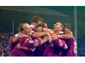 84 - 1991 State of Origin series - Queensland team celebrates the winning try of Game 3