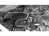 44 - An early photo above Neumann Oval (next to the larger Albion Park Paceway)