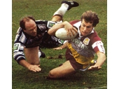 21 - Wally Lewis fails to stop this Broncos try after his move to the Gold Coast Seagulls