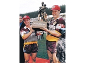 34 - Alfie and Lazarus hoist the 1992 Winfield Cup