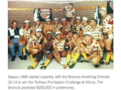 47 - The Broncos celebrate their pre-season comp win in 1995