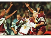 61 - The Broncos celebrate a try during Super League Grand Final in 1997
