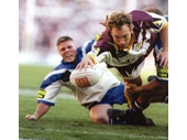 69 - Gordon Tallis scores a try during the 1998 NRL Grand Final