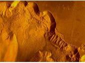 22 - Sharply cut valleys on Mars surface