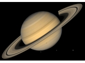 60 - Saturn and three of its moons with shadow of one of those