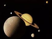 71 - Montage of Saturn and some its moons