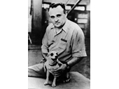 03 - Russia's Chief Designer Sergei Korelov and one of the dogs sent into space