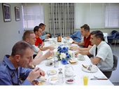 46 - Gemini 8 crew having breakfast before their flight