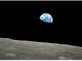 65 - Apollo 8's famous Earthrise over the moon photo taken on Christmas Eve (Africa in photo)