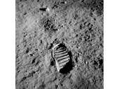 75 - A footprint left by one of the Apollo 11 crew on the moon