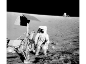 83 - Apollo 12's crew inspect the  Surveyor 3 lunar probe