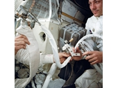 86 -  Apollo 13 apparatus created to make the CO2 filters from the Command Module work for those in the LEM (one round and one square)