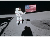 90 - Apollo 14's Alan Shepard with the American flag