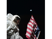 105 - Apollo 17's  'Jack' Schmitt, the American Flag and the Earth above