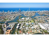 2010's Aerial view over Surfers Paradise and Bundall