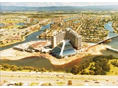 1980's Aerial view of Jupiters casino being built
