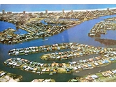1980's Aerial view of Surfers Paradise and canals