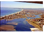 1980's Aerial view over Broadwater to Surfers