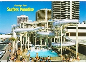1980's Grundy's Waterslide postcard 1