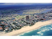 1960's Aerial view over Surfers and Chevron Island