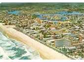1960's Aerial view over Surfers Paradise