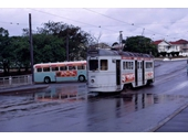 58 - A tram on Annerley Road passes a trolley bus turning off Cornwall Street at Dutton Park