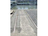 84 - Small portion of tram track on the southern pylon of the old Victoria Bridge