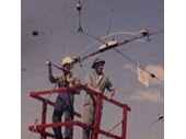 85 - Cutting down the overhead tram wires after the closure of the tram network