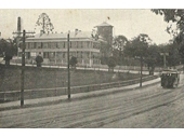 8 - An early electric tram passes the Royal Brisbane Hospital