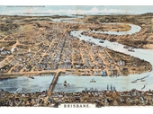 105 - Aerial Sketch of Brisbane in 1888 (likely from a tethered hot air balloon)