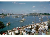 2 - Boats and crowds at Hamilton to greet the royal yacht Britannia (1954)