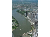 31 - Aerial photo of the CBD from above the Story Bridge in the late 1990's