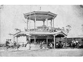 24 - An early photo of a kiosk at Sandgate that doubled as a viewing platform on top