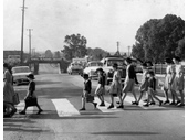 48 - Children cross the road at Corinda in 1962