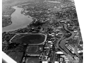 106 - Aerial photo above Albion showing the Paceway and Neumann Oval (later would become Allan Border Field)