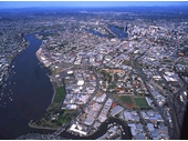 99 - Aerial view towards the City from above Albion in the 1990's