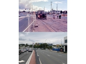 104 - Comparison photos of the Chermside tram terminus location on Gympie Road in the late 1960's and today