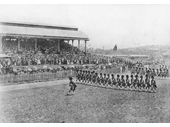 22 - Highland Regiments marching at Eagle Farm Racecourse in 1901, possibly as part of Federation celebrations