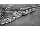 31 - The Hamilton wharves showing arm of river that was filled in and made land in the 1950's