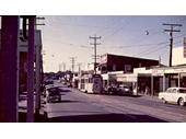 66 - A tram in the 1960's heads into the City past where Lutwyche Shopping Centre is today on Lutwyche Road