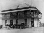 109 - Patrons and staff outside the Rocklea Hotel around 1890