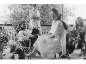 130 - Four of Thomas Roche's six children relax on the verandah of the Rochedale homestead around 1920