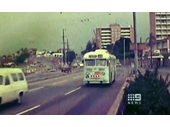 106 - A trolley bus approaching the Story Bridge with construction occurring on the Shaftson Rd overpass