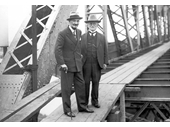 68 - Story Bridge (also Sydney Harbour Bridge) designer, Jim Bradfield (right), inspects progress on the Story Bridge
