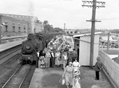 82 - Patrons arrive by train at the Ekka in 1950